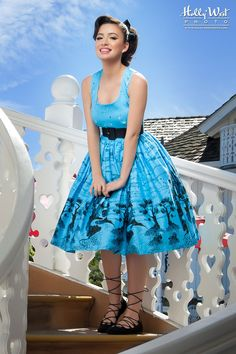 Pinup Couture 1950s Inspired Aurora Dress in Blue Castle Print | Pinup Girl…
