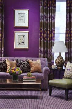 Phenomenal 15 Most Wonderful Purple Home Interior Ideas That You Need to Apply at Home Purple home interior ideas can be an option for those of you who like romantic colors in a house. This purple interior you can apply to all rooms in t. Living Room Color Schemes, Living Room Colors, Living Room Designs, Purple Home Decor, Purple Interior, Salons Violet, Murs Violets, Living Room Furniture, Living Room Decor