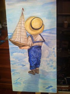 Young sailor on beach! I painted this for my husband- my fifth painting!