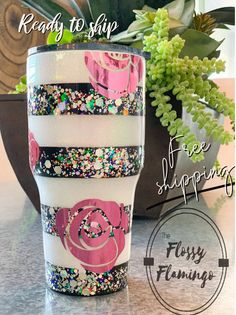 Quirky Flower Power Tumbler, Custom Glitter Tumbler, Black and White Stripes, Eco Friendly, Coffee Tumbler – Custom tumbler cups – New Epoxy Vinyl Tumblers, Personalized Tumblers, Custom Tumblers, Lila Party, Tassen Design, Kelsey Rose, Tumblr Cup, Glitter Cups, Glitter Tumblers
