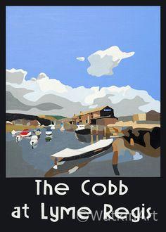 The Cobb at Lyme Regis, happy holidays here. Original painting and prints by Richard Watkin. www.watkinart.co.uk