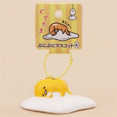 cute Gudetama egg yolk sleeping holding egg white squishy charm kawaii