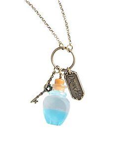 "Long chain necklace from Disney's <I>Alice In Wonderland</I> with ""Drink Me"" charm cluster design.<ul><li> 30"" chain; 4"" extender</li><li>Metal</li><li>Imported</li></ul>"