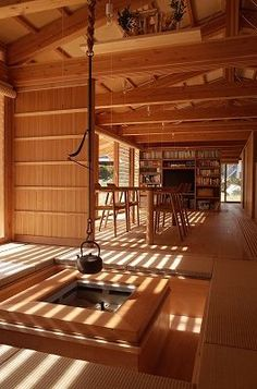 A house with a timber frame hipped roof that blends into the natural surroundings of Chichibu. Japanese Tea House, Traditional Japanese House, Japanese Interior Design, Japanese Modern, Japanese Design, Timber Architecture, Asian Architecture, Architecture Design, Irori