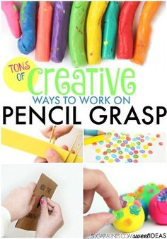 Creative ways to build and work on a functional pencil grasp.  Really cool activities you can do as part of your daily classroom routine.  Read more at:  http://www.sugaraunts.com/2013/09/improving-pencil-grasp-with-fine-motor.html