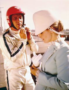"""Paul Newman and Joanne Woodward photographed by Michael Ochs while shooting the film """"Winning,""""1969- love her outfit for the Indy 500!"""
