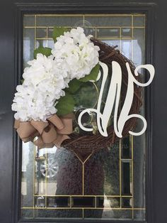 Our grapevine wreath with hydrangeas will look beautiful on your door all year long. There is available with white hydrangeas that is ready to ship. Door Monogram, Monogram Wreath, Monogram Letters, Burlap Bows, Burlap Wreath, Pineapple Design, Year Round Wreath, Mesh Ribbon, Welcome Wreath