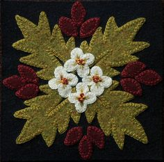 "Wool applique BOM PATTERN &/or KIT ""Desert Flower"" 6x6 block 1 of 24 ""Four Seasons of Flowers"" wool bed runner wall hanging table runner rug"