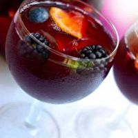 Carrabba's Blackberry Sangria Copycat  [[★★★★★]]+★ ---- INGREDIENTS 750ml Sweet Red wine (eg. Montepulciano) | 7 oz Cranberry Juice (*not* cocktail) | 7 oz Monin Blackberry Sangria Syrup | 3 oz Tuaca Italian liqueur
