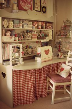 The cutest sewing station from Sew a little love blog. Good ideas...... I am sure you will want to un-cutesy it a little!