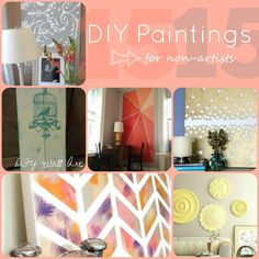 Want to create a painting but are a little unsure of your ability? Here are 15 DIY paintings for non artists to give you ideas and inspiration. Diy Artwork, Diy Wall Art, Wall Decor, Diy Projects To Try, Home Projects, Diy Arts And Crafts, Diy Crafts, Diy Canvas, Canvas Ideas