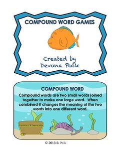 These compound word cards are perfect for literacy centers.  Print on cardstock…