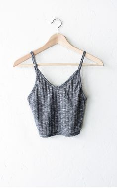 Knit Ribbed V-neck Crop Top - Charcoal from NYCT