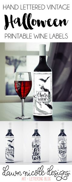 Cheers witches! Free Printable Halloween Wine Bottle Labels in three design options. | DawnNicoleDesigns.com