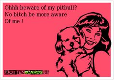 Ohhh beware of my pitbull?No bitch be more aware Of me !