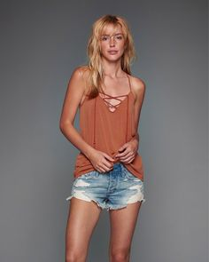 Lace Up Tassel Cami