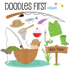 Gone Fishin' Digital Clip Art for Scrapbooking by DoodlesFirst