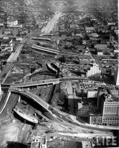 Los Angeles Development Boom of the 1950s - Aerial view of constuction of cloverleaf.
