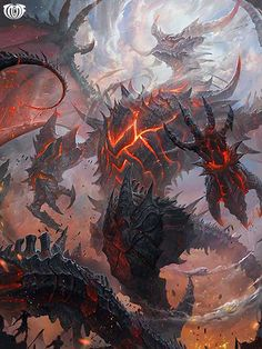Artist: Unknown - Title: Unknown - Card: Ragnablaze Bahamut (Chaos I) Monster Concept Art, Fantasy Monster, Monster Art, Types Of Dragons, Cool Dragons, Mythical Creatures Art, Fantasy Creatures, Mythical Dragons, Fantasy Beasts
