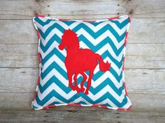 Horse Pillow  Cover   Turquoise chevron and Coral