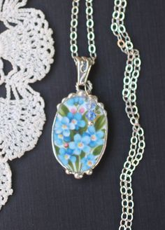 Necklace Broken China Jewelry Broken China by Broken China Crafts, Broken China Jewelry, Free Silver, Head Pins, Oval Pendant, Blue Crystals, Sterling Silver Chains, Turquoise Necklace, Jewelery