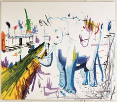 La maison d'elephant (udsnit), John Kørner, 2005 Inspiration to the song 'The Elephant House' (Kristine Hoelgaard) Contemporary Paintings, Artsy Fartsy, Rooster, My Favorite Things, Nice Things, Elephants, Drawings, Danish, Fun Stuff