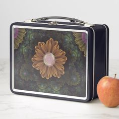 Abloom in Autumn Leaves with Faded Fractal Flowers Metal Lunch Box - kitchen gifts diy ideas decor special unique individual customized