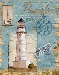 Seacoast Lighthouse II Canvas Print / Canvas Art by Paul Brent Decoupage Vintage, Decoupage Paper, Vintage Paper, Deco Marine, Lighthouse Art, Lighthouse Pictures, Images Vintage, Nautical Art, Beach Art