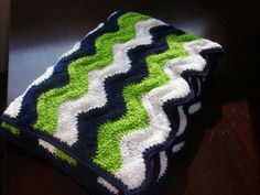 <b>Seahawks</b> colored Ripple Adult Size Blanket by 3citieshandmade