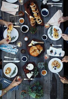 Brunch at Home. Love the cheese and croissant and the pancakes with blueberries…