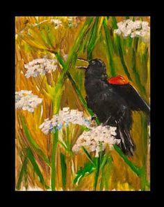 oil painting black bird singing http://4oneaday.blogspot.com/2014/01/singing.html