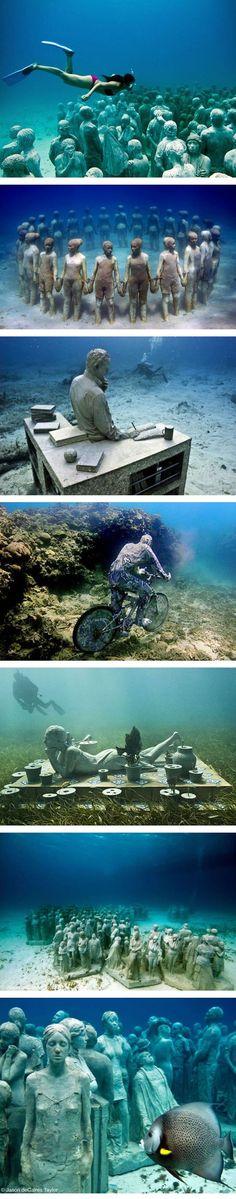 Underwater museum, Cancun, Mexico http://www.scubadiveincancun.com/divecancunuwmuseum.html. http://www.litoralverde.com.br/cancun.php: