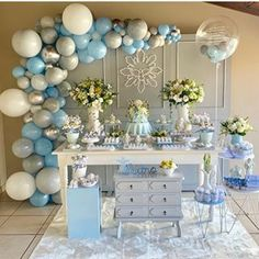 La imagen puede contener: tabla e interior Baby Boy Christening Decorations, Baptism Decorations, Fiesta Decorations, Baby Shower Decorations For Boys, Balloon Decorations, Birthday Decorations, Candy Bar Bautizo, Candy Bar Comunion, Baby Shower Party Favors