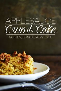 Applesauce crumb cake is a delicious thing to wake up to! Free from gluten, eggs, and dairy, it's one of my family's favorite breakfast treats. Gluten Free Recipes For Breakfast, Gluten Free Sweets, Allergy Free Recipes, Gluten Free Cakes, Gf Recipes, Gluten Free Baking, Healthy Baking, Raw Food Recipes, Brunch Recipes
