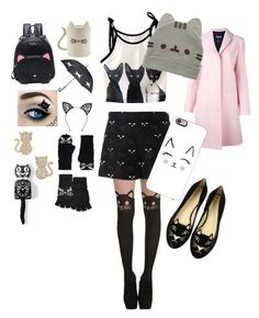 """Cat style"" by mille-marie-rue-halling on Polyvore featuring Charlotte Olympia, Fleur du Mal, Kate Spade, MSGM, Kit-Cat, Giamba and Casetify"