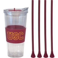 22oz Ncaa USC Trojans Straw Tumbler with 4 Colored Replacement Propeller Straws, Multicolor