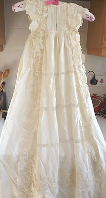 ANTIQUE LACE CREAM SILK BABY CHRISTENING GOWN