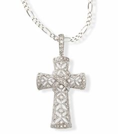 """Heavenly Treasures  14k White Gold Diamond Filigree Scroll Cross Pendant  Large Diamond scroll cross pendant in 14kt white gold with a filigree design. (PE7587) $895. .66 ctw of genuine white Diamonds Weighs approx 3.9 grams Measures 1 3/4"""" x 7/8"""" Chain sold separately Choose from white or yellow 14kt gold"""