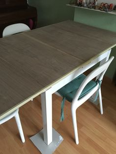 Make your own country kitchen table with a cheap ikea table this ikea bjursta white painted topt with european walnut veneer watchthetrailerfo