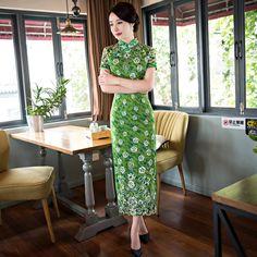 New Arrival Women's Long Cheongsam Hot Sale Traditional China Lady Lace Qipao Elegant Slim Dress Flower Size S M L XL XXLF062202