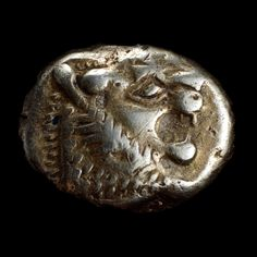 Electrum 1/6 stater  Lydian, about 650-600 BC  From western modern Turkey    One of the very earliest coins    The Greek historian Herodotus, writing in the fifth century BC, stated that 'the Lydians were the first people we know to have struck and used coinage of silver and gold.
