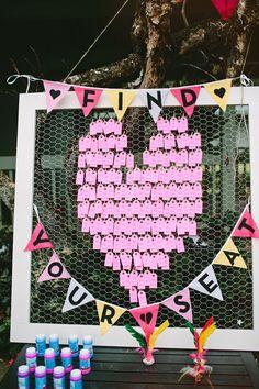 heart seating chart // photo by Pat Furey // View more: http://ruffledblog.com/hawaiian-island-wedding/