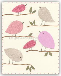 Nursery Decor Art for Kids Room..A Birdie Day. $17.00, via Etsy.
