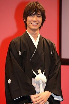 Sota Fukushi (Japanese actor) in montsuki-hakama. Montsuki-hakama: formal Japanese attire for a man, consisting of a kimono dyed with the family crest and a long, loose, pleated skirt
