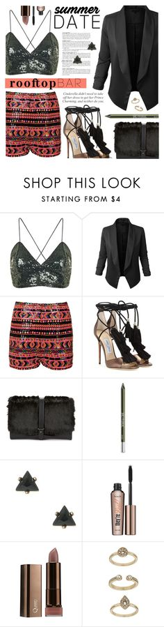 """Summer Date: Rooftop Bar"" by noviii ❤ liked on Polyvore featuring Topshop, LE3NO, Jimmy Choo, Sam Edelman, Urban Decay, Benefit, summerdate and rooftopbar"