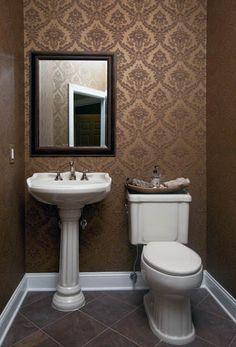 Wallpapered Powder Room - traditional - powder room - new york - by Iris Interiors LLC Love the damask wallpaper!