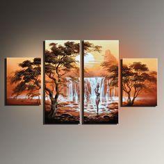 Incroyable Paysage Africain Peinture À L'huile Peint À La Main Toile Peinture 4…