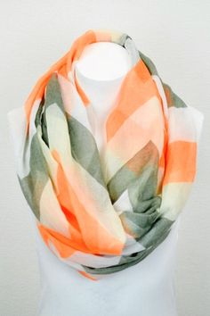Orange And Gray Infinity Scarf Or Pink And Coral by uptowngirlco, $14.95