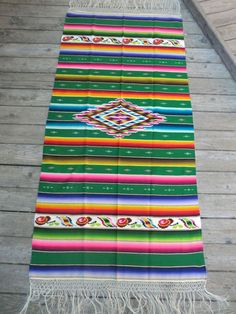 "Very Fine Antique Mexican Saltillo Style Serape -Large 37"" x 78"""