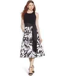 Halter Black and White Print Midi Dress